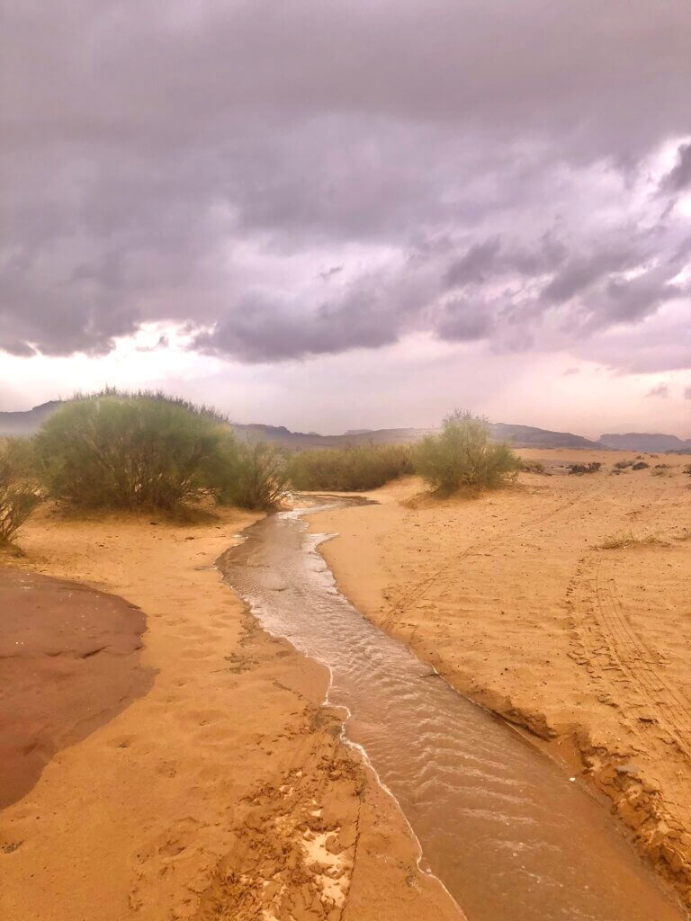 Rain in wadi Rum